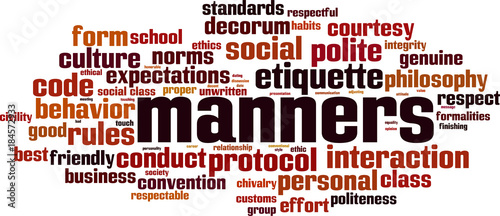 Manners word cloud Fototapet
