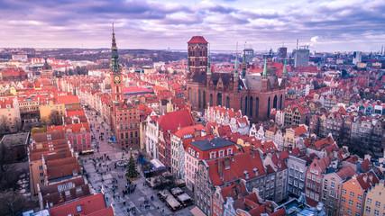 Panel Szklany Podświetlane Gdańsk Świąteczna Gdańska Starówka