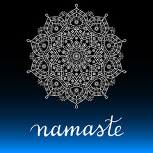 Namaste Card Vector Print. Whi...