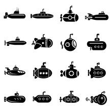 Submarine Icons Set, Simple St...
