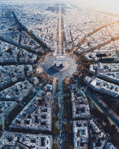 Arc de Triomphe Paris Aerial - 184583515