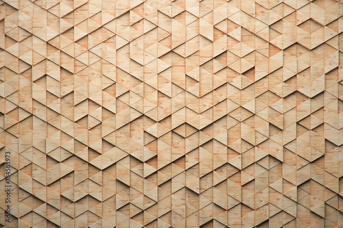 Fototapeta Wood triangular Abstract polygonal background from wooden, 3d render