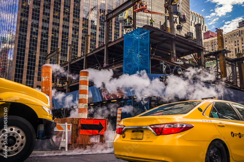 Photo sur Aluminium New York TAXI taxi New York chantier