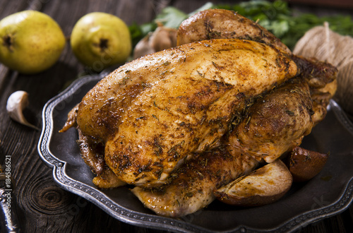 Roasted guinea fowl Fototapet