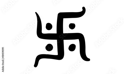 Photo  Hinduism Swastik Illustration. Hand drawn Icon.