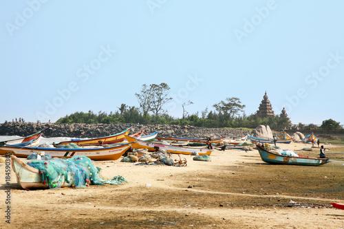 Fischkutter am Mahabalipuram-Strand Tablou Canvas