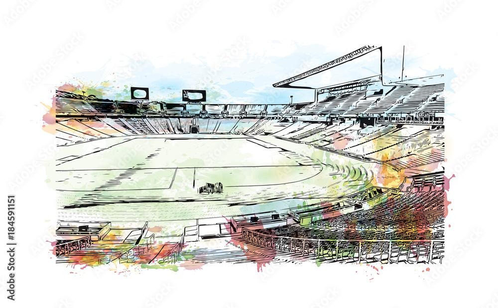 Akwarela malarstwo z powitalny i szkic stadionu w Barcelonie, Hiszpania w ilustracji wektorowych. <span>plik: #184591151 | autor: dhanu3182</span>