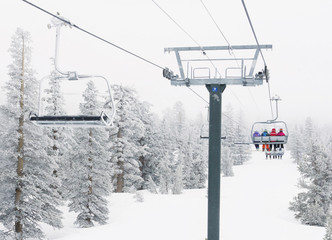 Tahoe Powder Day Chairlift