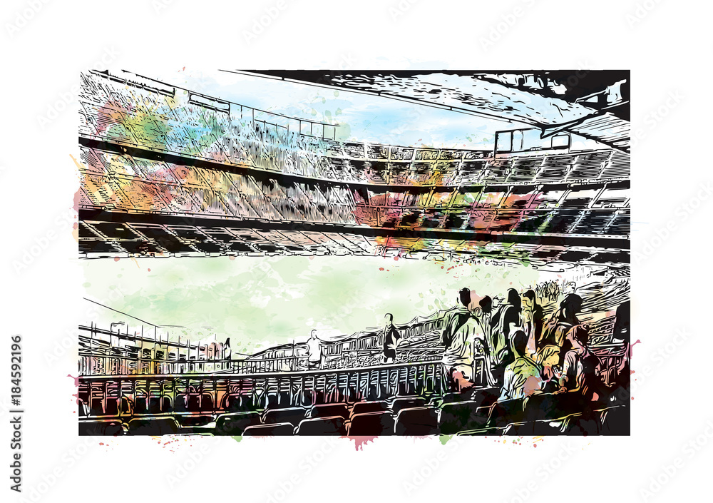 Fotografía  Watercolor painting with splash and sketch of Stadium in Barcelona, Spain in vector illustration