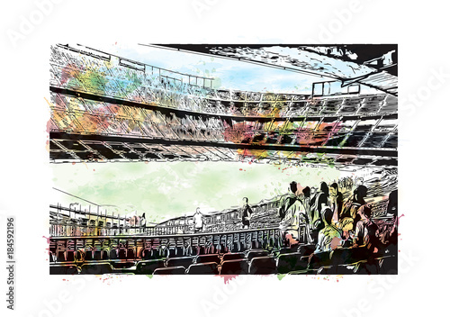 Láminas  Watercolor painting with splash and sketch of Stadium in Barcelona, Spain in vector illustration