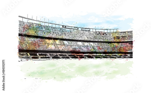 Fototapeta Watercolor painting with splash and sketch of Stadium in Barcelona, Spain in vector illustration.