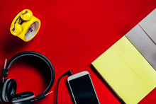 Yellow Clock, Black Headphones...