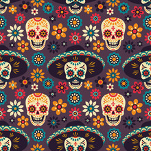 Day Of The Dead. Seamless Vect...