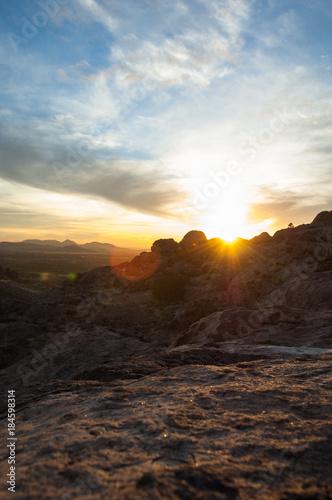 Deurstickers Oranje eclat Landscape photo at Hueco Tanks State Park in El Paso, Texas during sunset.