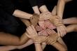 canvas print picture - diversity many diverse women's hands symbolize unity and empowerment