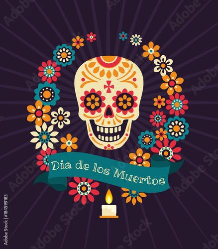 Dia De Los Muertos. Day Of The Dead Vector Poster With