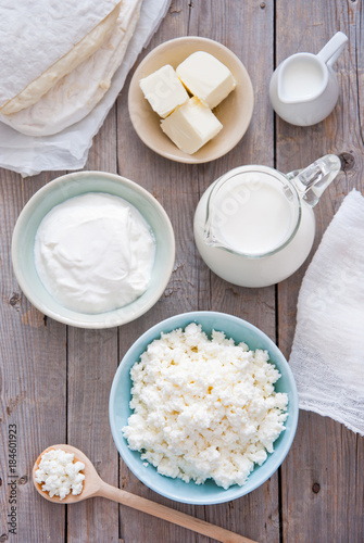 Poster Produit laitier Organic Farming Cottage cheese, sour cream, butter, cheese and milk
