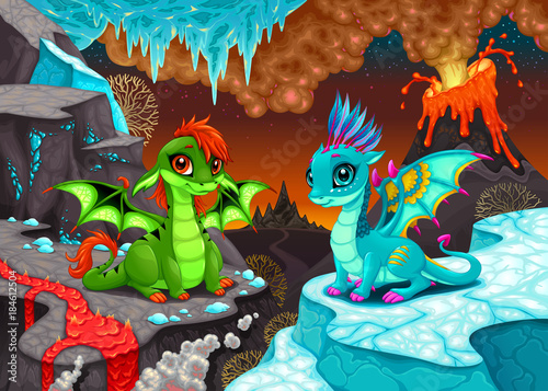 Baby dragons in a fantasy landscape with fire and ice