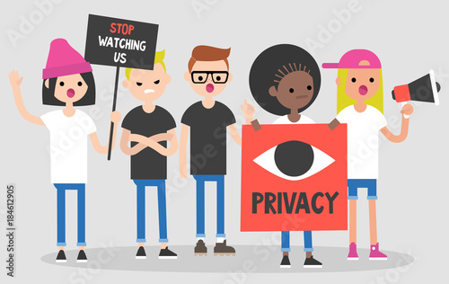 Photo Mass protest, flat editable vector illustration