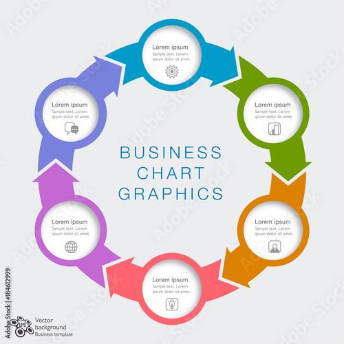 Business Chart Design 6-Step #Vector Graphics Tableau sur Toile