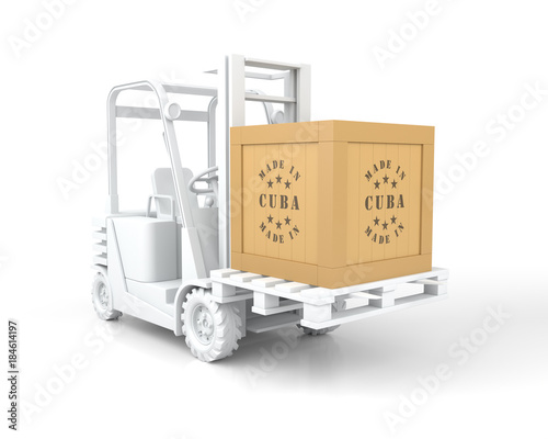 Forklift Truck with Made in Cuba Wooden Box on Pallet. Canvas Print