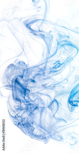 Keuken foto achterwand Fractal waves Blue smoke on white background