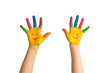 Children's painted hands with smiling faces.