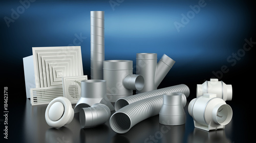 Fényképezés Ventilation system items - dark background