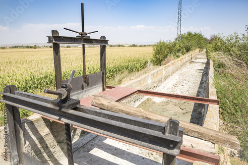Tuinposter Kanaal sluicegates on a dry irrigation watercourse canal and a field of corn