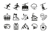Ski Resort Icons Black Silhoue...