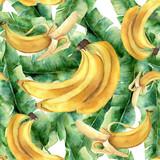 Akwarela banan tropikalny wzór. Ręcznie malowane owoce tropikalne i liście na białym tle. Ilustracja botaniczna żywności do projektowania lub drukowania. - 184634552