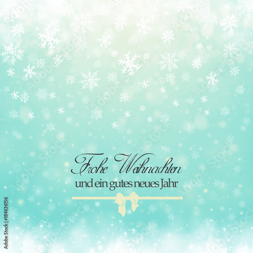 Christmas winter abstract background with snowflakes, bokeh lights ...