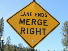 Lane Ends Merge Right Street S...