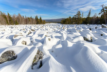 Sea Of Stones Covered With Sno...