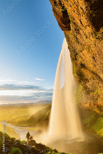 Plagát  The Beautiful Seljalandsfoss Waterfalls of South Iceland at Sunset, Iceland