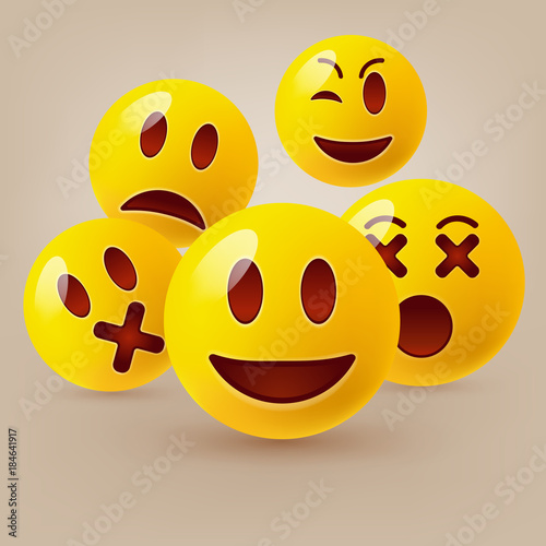Photo  Emoticon. Vector style smile face icons