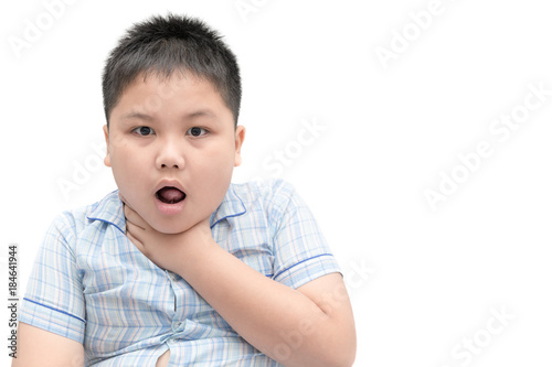 boy gestures with something stuck in his throat Wallpaper Mural