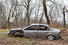 Abandoned, Wrecked Car