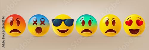 Obraz na plátně Cute emoticons set