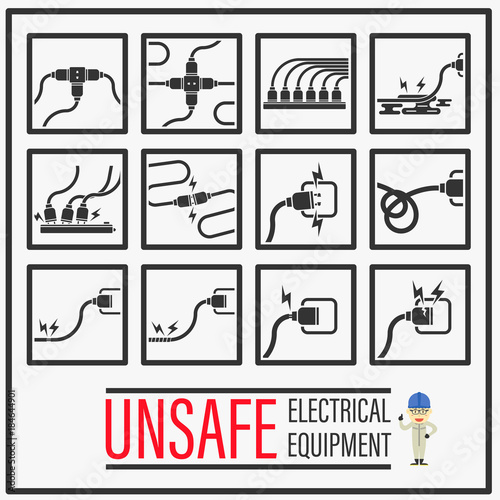 Set Of Signs And Symbols Of Unsafe Electrical Equipments Unsafe