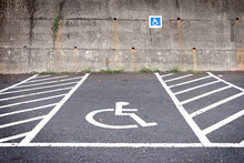 Empty Parking Lot With Disable...