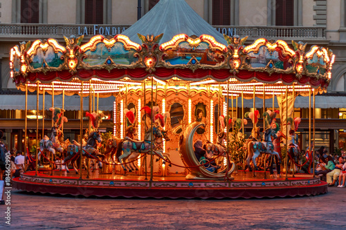 Fotografie, Obraz  Antique Carousel of the Picci Family: Florence, Italy