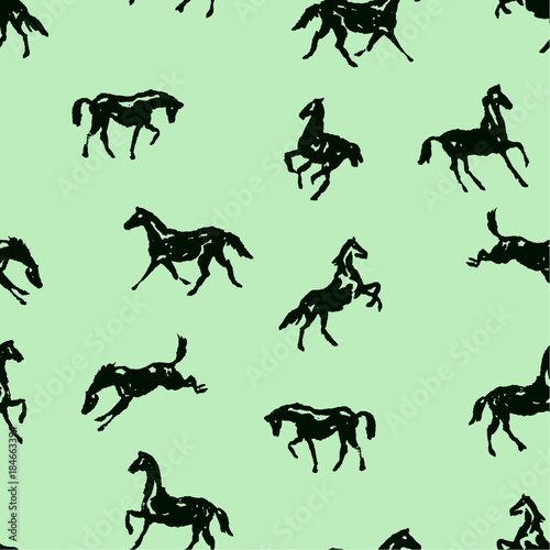 pattern-with-silhouette-horses-in-various-poses-and-motion-seamless-vector-background-with-hand-drawing-horses-black-on-green-color-england-equestrian-sport-traditional-style-for-fashion-fabric