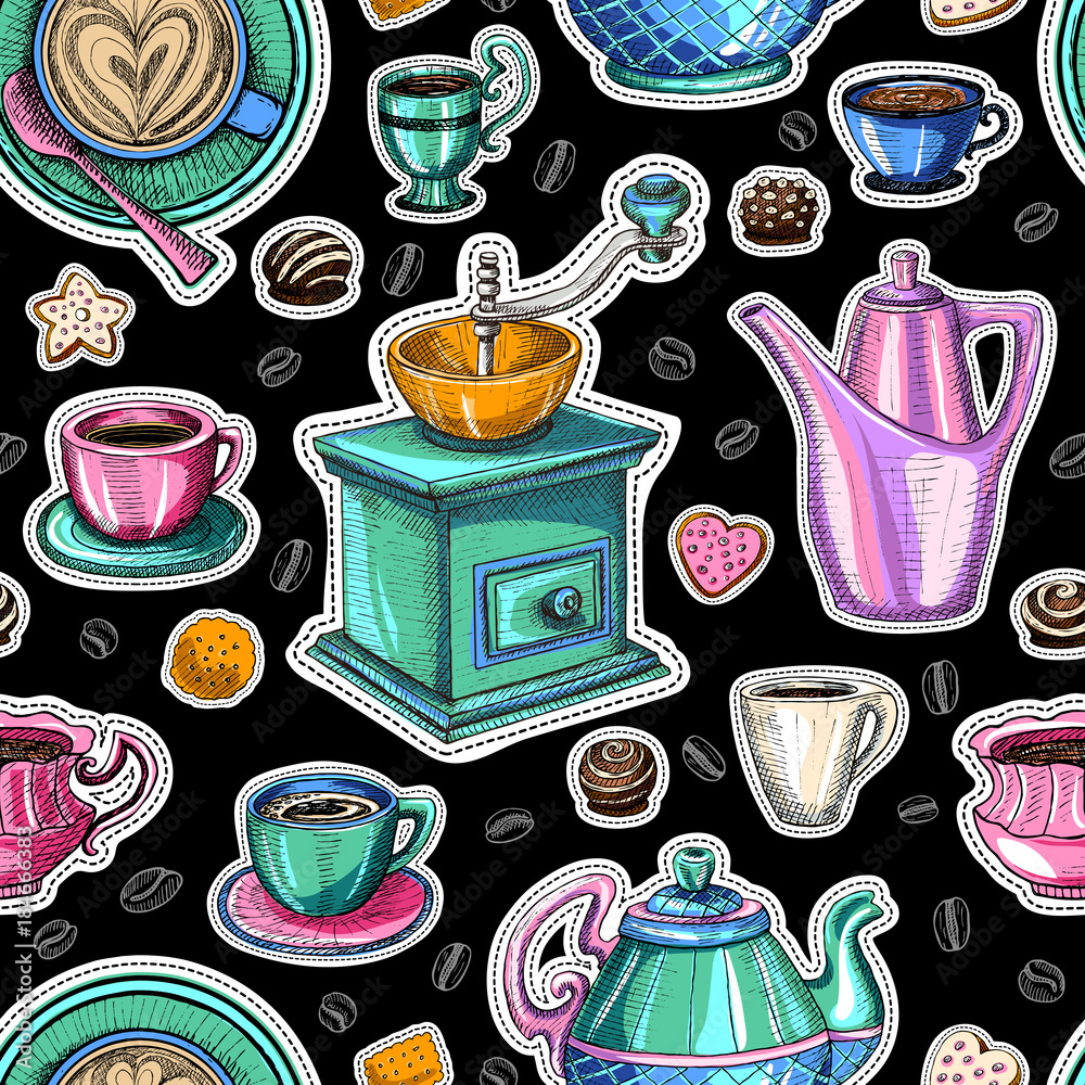 Coffee seamless pattern vector, coffee shop packaging design, sketch style. Coffee, desserts, tea, breakfast, cakes, donut. mug, cup, coffee grinder. Hand drawn vector.
