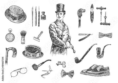 Victorian Era Collection, Gentleman's vintage accessories doodle collection Fototapete