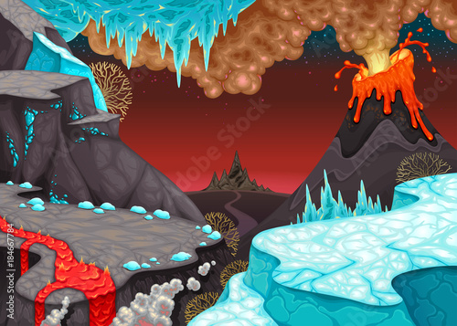 Poster Chambre d enfant Prehistoric landscape with fire and ice.