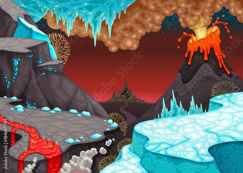 Staande foto Kinderkamer Prehistoric landscape with fire and ice.