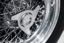 Chromed Wheel Disc. Luxury Vintage Sport Car