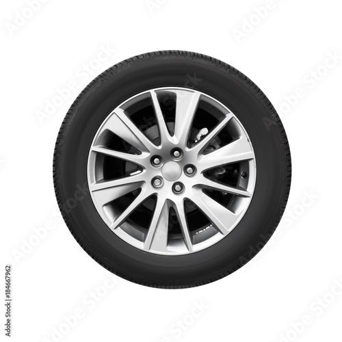 Modern car wheel on light alloy disc, front view Fototapeta