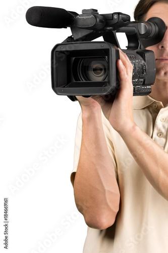 Fototapeta Closeup of a Cameraman Filming obraz na płótnie